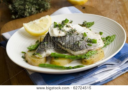 Grilled Seabass With New Potatoes