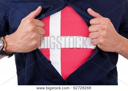 Young Sport Fan Opening His Shirt And Showing The Flag His Country Denmark, Danish Flag