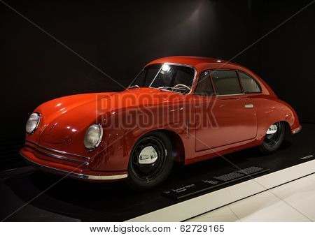 STUTTGART, GERMANY - CIRCA APRIL, 2014: Porsche Museum. PORSHE 356\2 Coupe (1948)