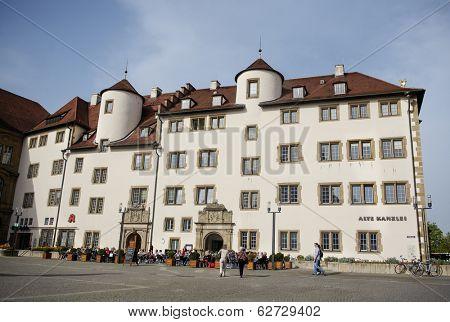 STUTTGART, GERMANY - APRIL 01, 2014: Historical Renaissance Building - Historical architecture of the Alte Kanzlei on Schillerplatz Square