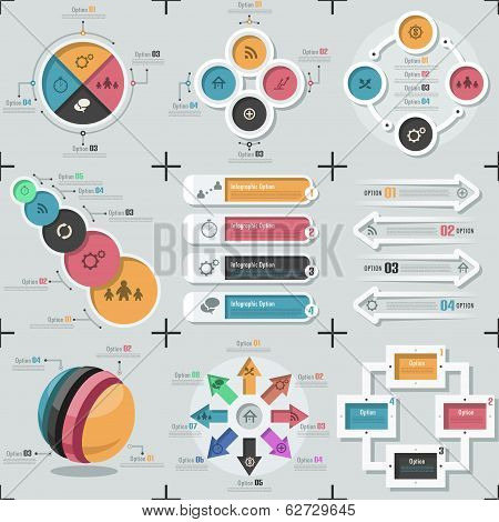 Set Of 9 Flat Minimal Infographics