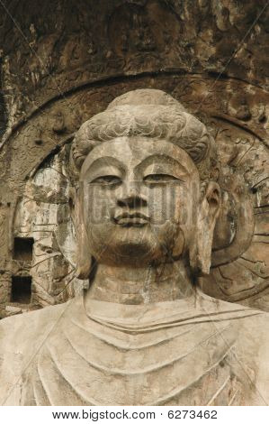 Anscient Buddhist Cave Statue Near  Luoyan City, China.