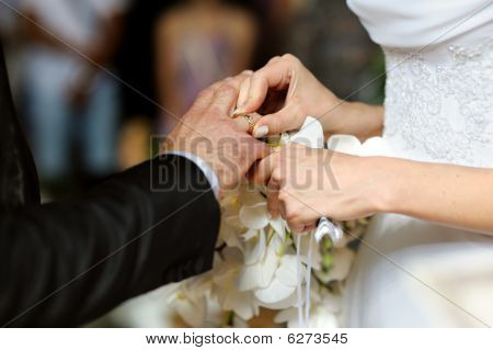 Bride Putting The Ring On Groom's Finger