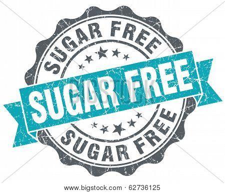 Sugar Free Turquoise Grunge Retro Style Isolated Seal