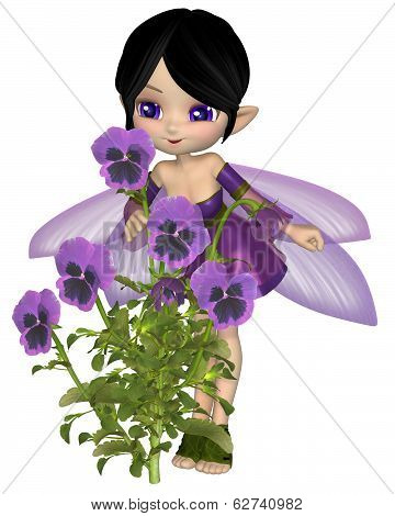 Cute Toon Purple Pansy Fairy, Standing