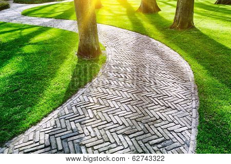 Paved Footpath In Spring Park