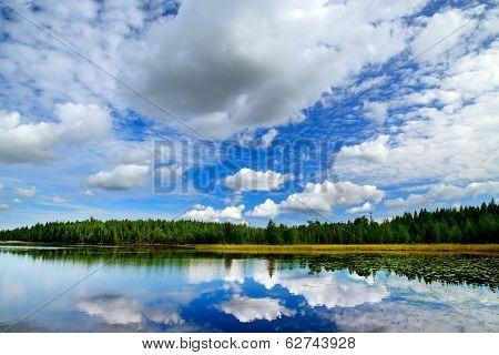 Lake Engozero And Dramatic Clouds. North Karelia, Russia
