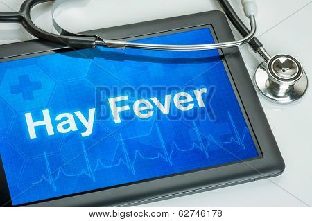 Tablet with the diagnosis hay fever on the display