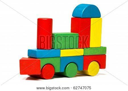 Toy Train, Multicolor Locomotive Wooden Blocks, Transport Over White Background