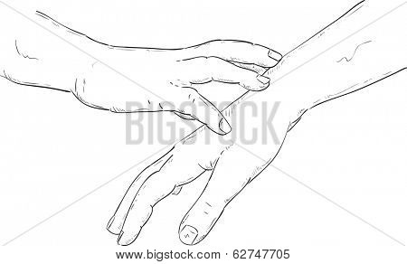 vector - gentle caress of the hand