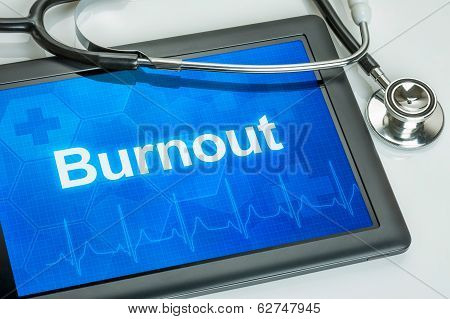 Tablet with the diagnosis burnout on the display