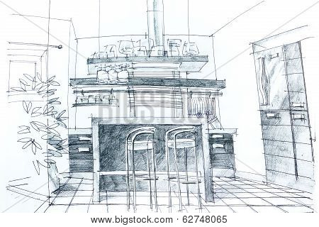 Graphic Sketch Of Kitchen
