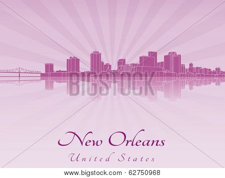 New Orleans Skyline In Purple Radiant Orchid