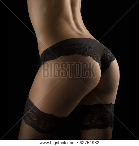 Perfect Female Sexy Buttocks In Black Lingerie