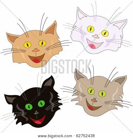 Four Cheerful Cat Faces As Masks