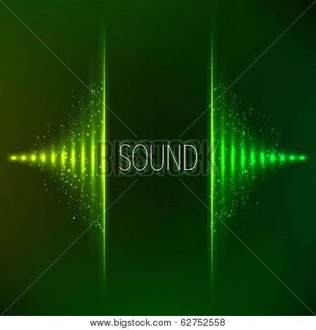 Green neon stereo vector equalizer