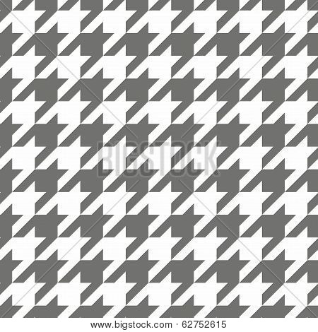 Houndstooth vector seamless grey and white pattern or background.