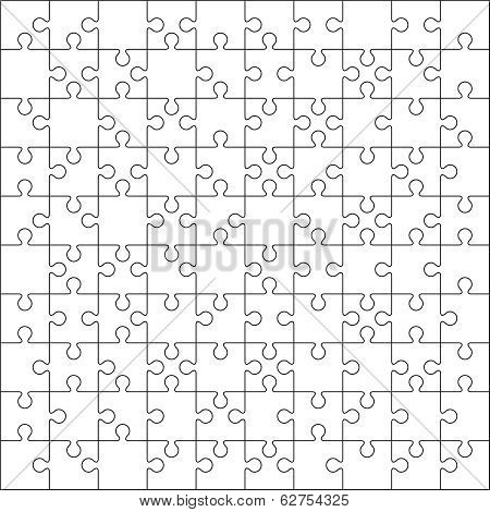 100 Jigsaw puzzle blank template