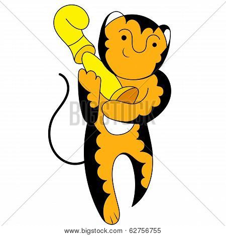 Cartoon tiger champion with a triumphant cup