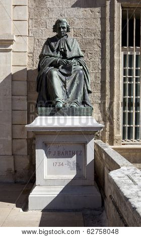 MONTPELLIER, FRANCE - AUGUST 14: Statues of Paul-Joseph Barthez at the Faculty of Medicine of Montpellier on august 14, 2013 in Montpellier
