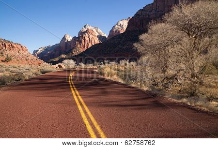 Road Sunrise High Mountain Buttes Zion National Park Desert Southwest