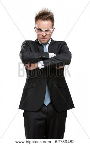 Half-length portrait of charismatic business man in glasses with arms crossed, isolated on white