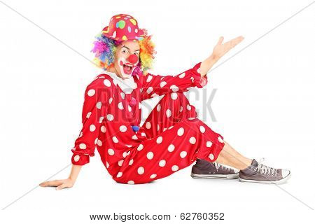 Male clown gesturing with hand isolated on white background