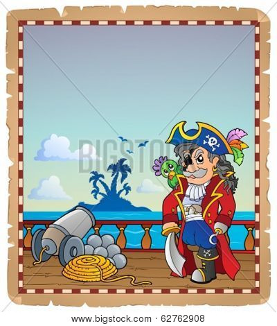Parchment with pirate ship deck 2 - eps10 vector illustration.