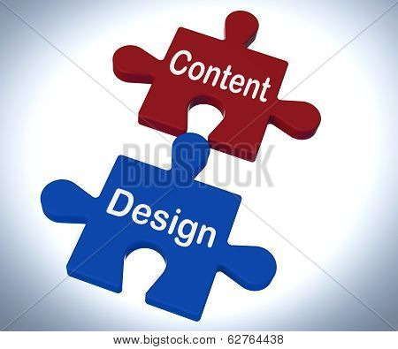 Content Design Puzzle Shows Promotional Material And Layout