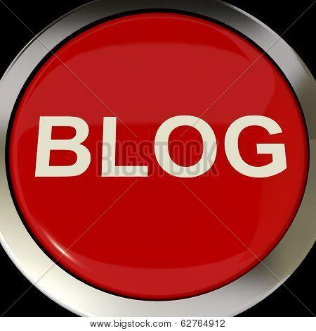 Blog Button Shows Blogging Or Weblog Websites