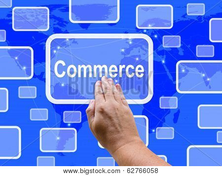 Commerce Touch Screen Shows Commercial Activities