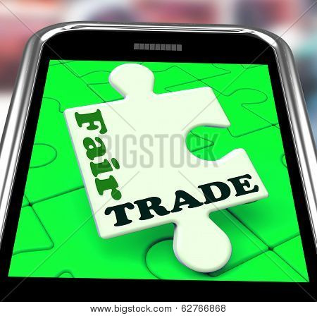 Fair Trade Smartphone Shows Purchasing Ethical Fairtrade Goods