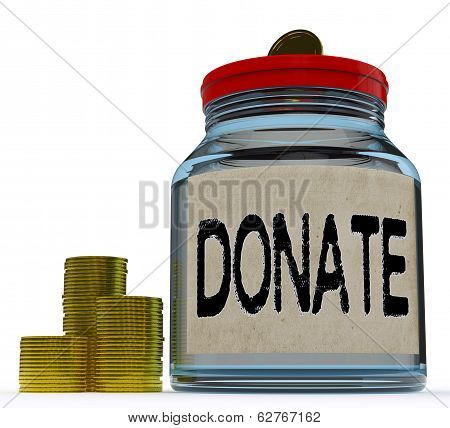 Donate Jar Shows Fundraising Charity And Contributions