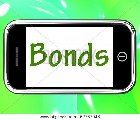Bonds Smartphone Means Online Business Connections And Networking