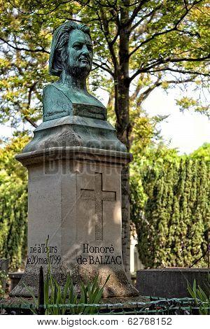 Honore de Balzac, monument in the cemetery Pere Lachaise, Paris
