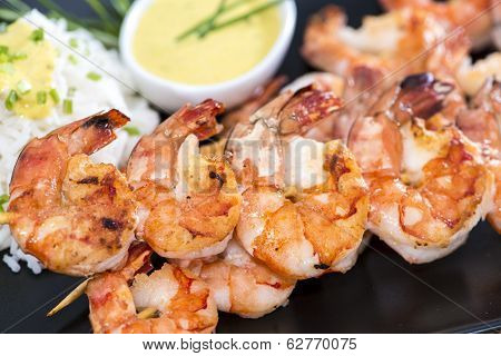 Skewered Prawns With Rice