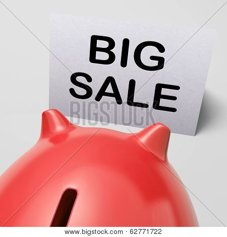 Big Sale Piggy Bank Shows Price Slashed