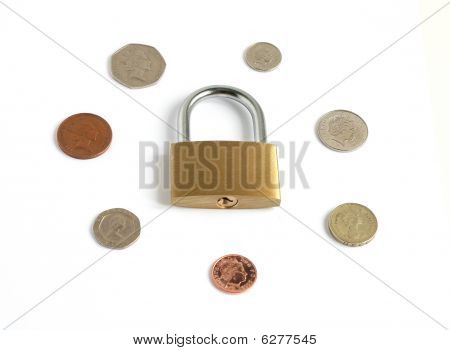 Coins With Locked Closed Padlock