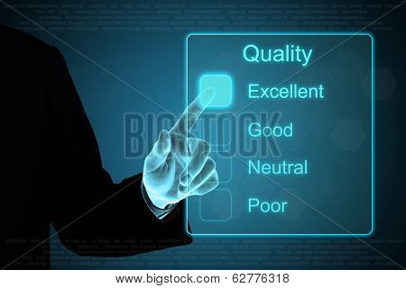 Business Hand Clicking Quality Feedback On Touch Screen