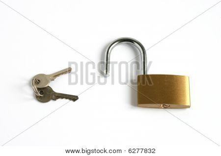 Unlocked Open Padlock And Keys