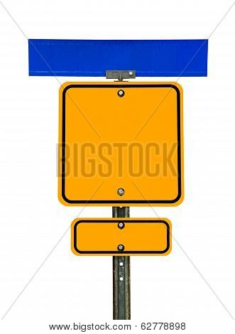 Blank Square Caution Sign With Signs Above And Below