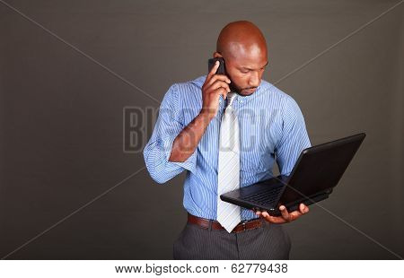 Busy African American Business Man