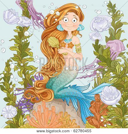 Mermaid combing long hair on undersea background