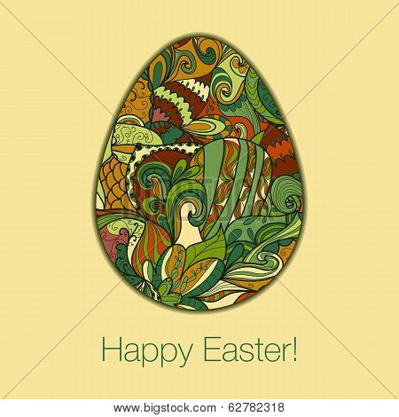 Easter Egg Greeting Card Hand Drawn Ornament