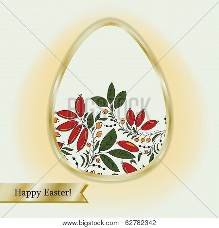 Easter Egg With Barberry, Greeting Card