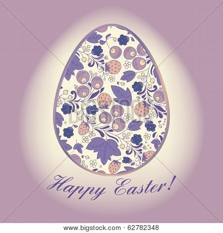 Easter Egg With Berry, Lilac Greeting Card