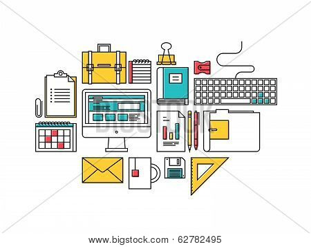 Trendy Business Development Items Icons