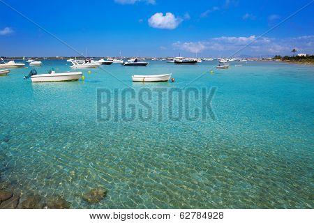 Formentera boats at Estany des Peix lake in Balearic Islands