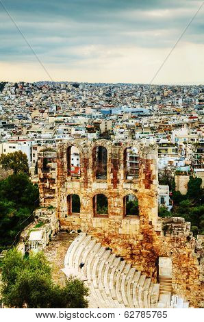 The Odeon Of Herodes Atticus View In Athens