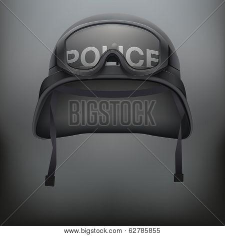 Background of police black helmet